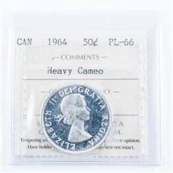 1964 Canada Silver 50 cent PL66. ICCS Cameo