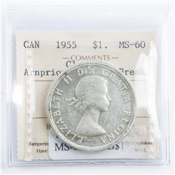 CANADA 1955 Silver Dollar MS60. Arnprior with  Die Breaker