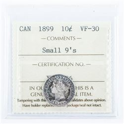 Canada 1899 5 Cents VF30 Small 9's. ICCS.