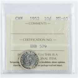 Canada 1952 Silver 10 Cent MS65 ICCS