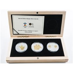 RCM 2010 Special Edition Olympic Silver Coin  Set .999 Fine Silver 3x5.00 Coins with C.O.A.