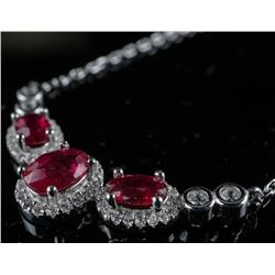 925 Sterling Silver Necklace 3 Oval Cut  Rubies and 55 CZ - 3.20ct Appraised: $1215.00