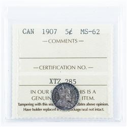 Canada 1907 5 Cents MS62. ICCS.