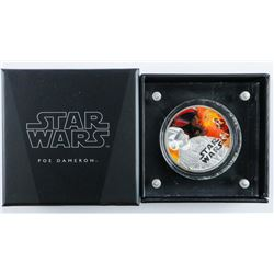 DISNEY - STAR WARS Coin 'Poe Dameron' .999  Fine Silver with Display. LE