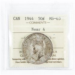 1944 Canada 50 Cents MS63. ICCS. Near 4 (MER)