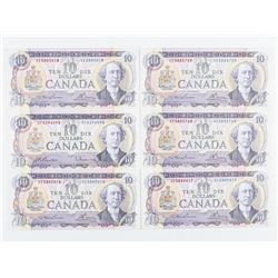 Estate Group (6) Bank of Canada 1971 - 10.00  Choice UNC L/B - BC49c