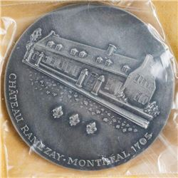 Chateau - Ramezay Museum 1962 Sterling Silver  Medal 100th Anniversary of Canada First Coin  Club Mo