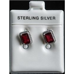 925 Sterling Silver Earrings 2.58ct Natural  Glass Filled Rubies and 48 cz Appraised:  $1330.00
