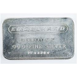 SCARCE Engelhard 1 Troy ounce .9999 Fine  Silver Bar Serialized