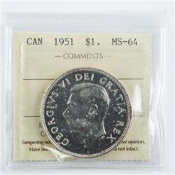 Canada 1951 Silver Dollar MS64. ICCS (MER)