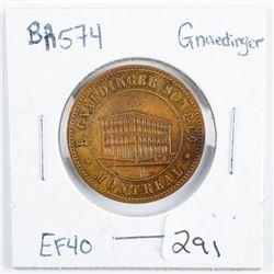 Token BA574 Gnaedinger EF40 1852 PUBS HAT  CAPS