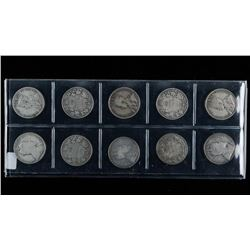 Group of (10) 925 Sterling Silver Canada 50  Cents 5 Edward - 5 George