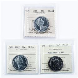 Group of (3) CANADA 50 cents - 1966 PL64,  1967 PL64 and 1992 MS66
