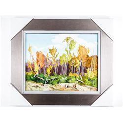 "A.J. Casson (1898-1992) Studio Litho/Panel,  Brushstrokes on Birchwood Panel Gallery  Frame. 18x21"""