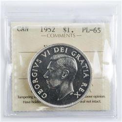 Canada 1952 Silver Dollar PL65. ICCS (KER)