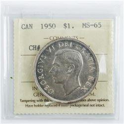 Canada 1950 Silver Dollar MS65. ICCS (CIE)
