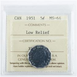CANADA 1951 5 Cents MS64. Low Relief ICCS.