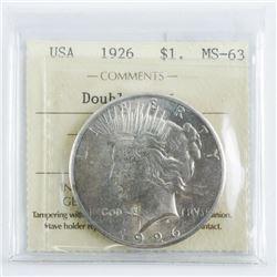 USA 1926 Silver Dollar RARE MS63. ICCS. (KXR)