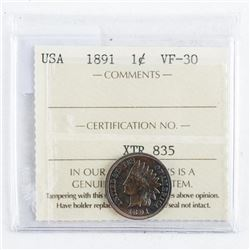 1891 USA 1 Cent Indian VF30. ICCS.