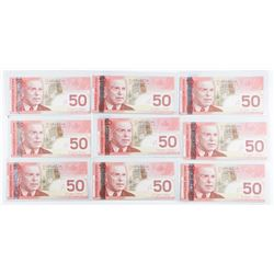 Lot (9) Bank of Canada 2004 50.00 (AU) 450.00  Face