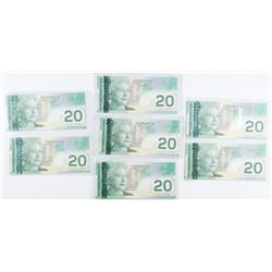 Lot (8) Bank of Canada 2004 20.00 AU UNC  160.00 Face