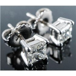 Ladies Platinum Stud Earrings 2 Princess Cut  Diamonds (SI) 1.15ct Appraised: $7045.00