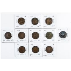 Group (11) Canada Large 1 Cent Coins  (1910-1920)