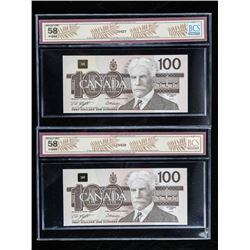 Lot (2) Bank of Canada 1988 100.00 BCS AU58  BC-60d in Sequence