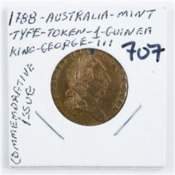 1788 Australia Mint Type Token 1 Guinea King  George III Commemorative Issue