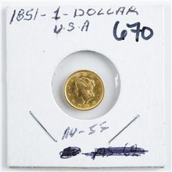 1851 USA 1 Dollar Gold Coin, AU55 (KXR)