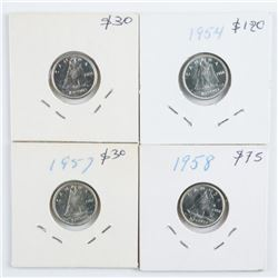 Group of (4) Canada 10 Cents - 1954, 1956,  1957, 1958