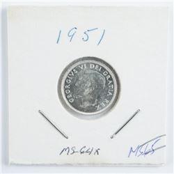 1951 Canada Silver 10 Cent MS-64