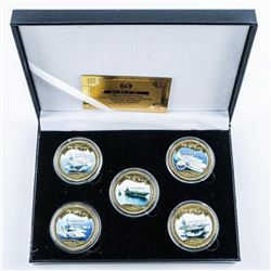 World War Ships (5) 24kt Gold Plated and  Colour Medallion Set. Limited Edition of  1,000 Worldwide