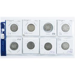 Group of (8) CANADA Silver 25 Cent