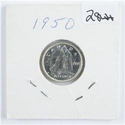 1950 Canada Silver 10 Cent MS-64