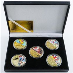 Merry Christmas 5 medallion Gift Set, LE  .9999 Gold Plated with Colour