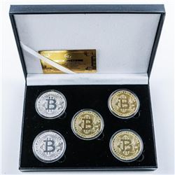 BitCoin (5) 24kt Gold and Silver Plated  Medallion Set. Limited Edition of 1,000  Worldwide with COA