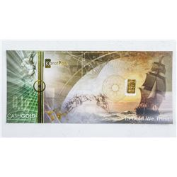 .9999 Fine Pure 24kt Gold Bar Embedded in  Cash Gold Note