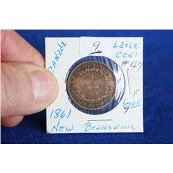 New Brunswick One Cent Coin (1) - 1861; F