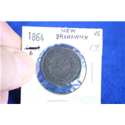 New Brunswick One Cent Coin (1) - 1864, VG