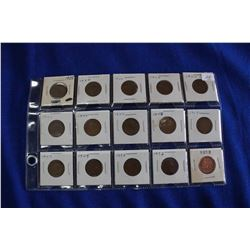 Canada One Cent Coins (15) - 1935, '39, '40, '40, '40, '41, '44, '45, '45, '47, '47, '49, '50, '52,