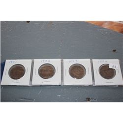 Canada One Cent Coins (4) - 1901, 1902, 1903, 1904