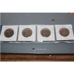 Canada One Cent Coins (4) - 1905, 1906, 1907, 1908