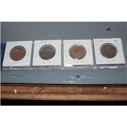 Canada One Cent Coins (4) - 1909, 1910, 1911, 1912