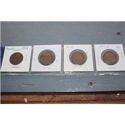 Canada One Cent Coins (4) - 1913, 1914, 1915, 1916
