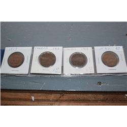 Canada One Cent Coins (5) - 1917, (2) 1918, 1919, 1920