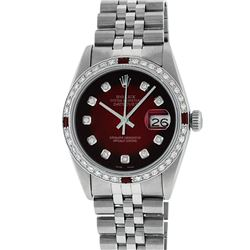 Rolex Mens Stainless Steel Red Vignette Diamond & Ruby Datejust Wristwatch