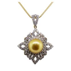 Pearl and Diamond Pendant With Chain - 18KT Yellow Gold
