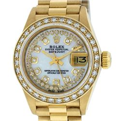 Rolex Ladies 18K Yellow Gold Mother Of Pearl String Diamond President Wristwatch