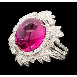 13.90 ctw Rubellite and Diamond Ring - 18KT White Gold